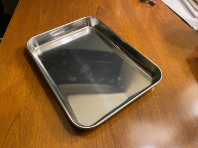 I bought a set of three of these stainless baking sheets for my son's college apartment. He loves them!