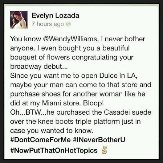 Evelyn Lozada Reads Wendy Williams For Her Ugly Remarks
