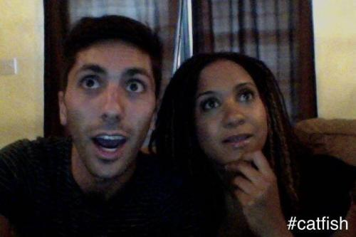 Nev and Tracie watching this episode of Catfish.