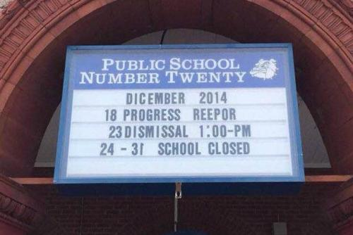 The sign above the entryway to Public School 20 in Paterson, N.J. (Corey Teague/Facebook)