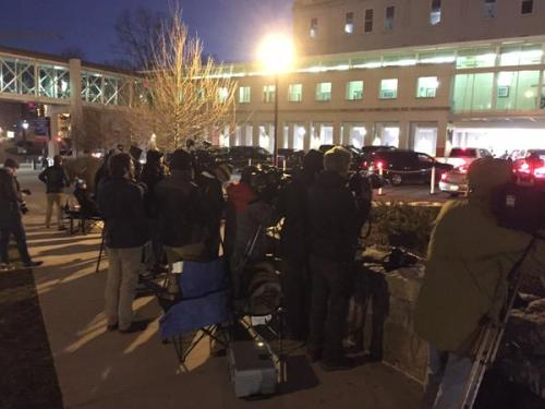 Media Outside Emory  Photo Credit 11alive Twitter