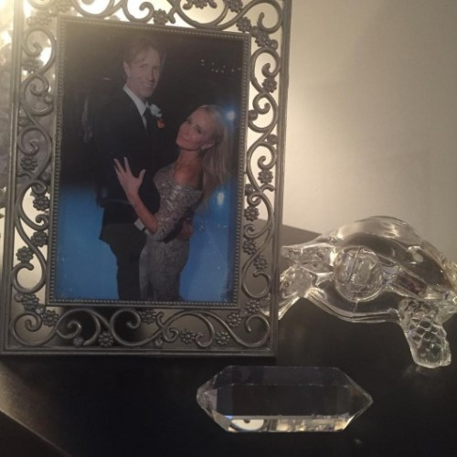 Kim's bedside table posted by Monty Brinson on Instagram October 2015