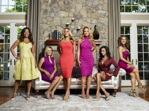 THE REAL HOUSEWIVES OF POTOMAC -- Season:1 -- Pictured: (l-r) Charrisse Jackson Jordan, Robyn Dixon, Karen Huger, Gizelle Bryant, Katie Rost, Ashley Boalch Darby -- (Photo by: Tommy Garcia/Bravo)
