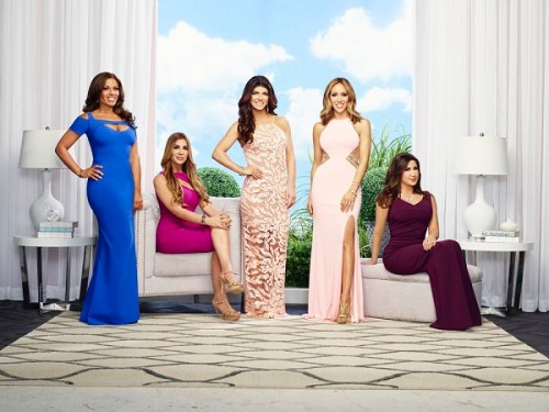 THE REAL HOUSEWIVES OF NEW JERSEY -- Season:7 -- Pictured: (l-r) Dolores Catania, Siggy Flicker, Teresa Giudice, Melissa Gorga, Jacqueline Laurita -- (Photo by: Tommy Garcia/Bravo)