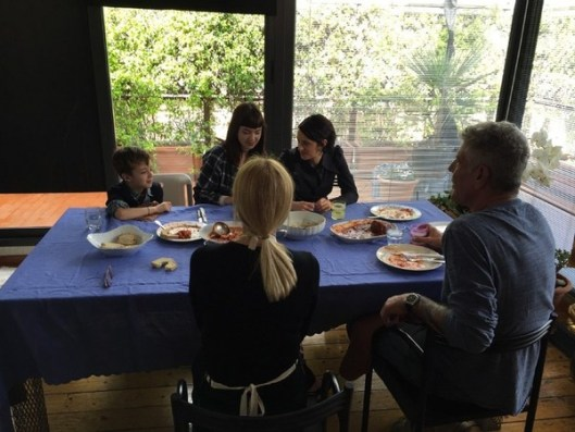 Photo: CNN Anthony Bourdain and Asia Argento family dinner on Parts Unknown
