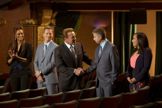 "THE NEW CELEBRITY APPRENTICE -- ""In Here You Call Me Governor"" Episode 1502 -- Pictured: (l-r) Tyra Banks, Patrick Knapp Schwarzenegger, Arnold Schwarzenegger, Trident Executives John Ghingo, Katie Williams -- (Photo by: Luis Trinh/NBC)"