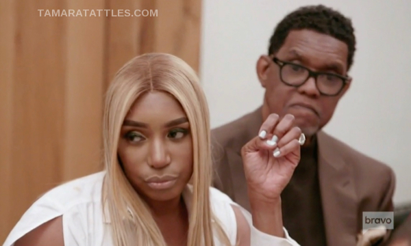 Nene Leakes with Gregg Leakes Nene looks mad, Gregg looks sad