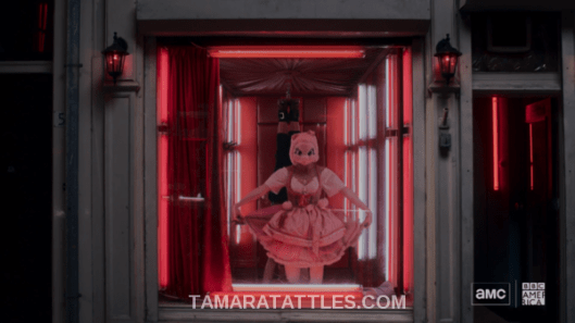 Killling Eve Recap S2 Ep04 Tamara Tattles.com Villanelle in pig costume curtsies in the red light district after public killing