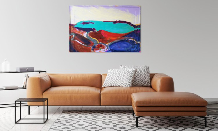 Preview this painting of Santorini Volcano as viewed in a living room