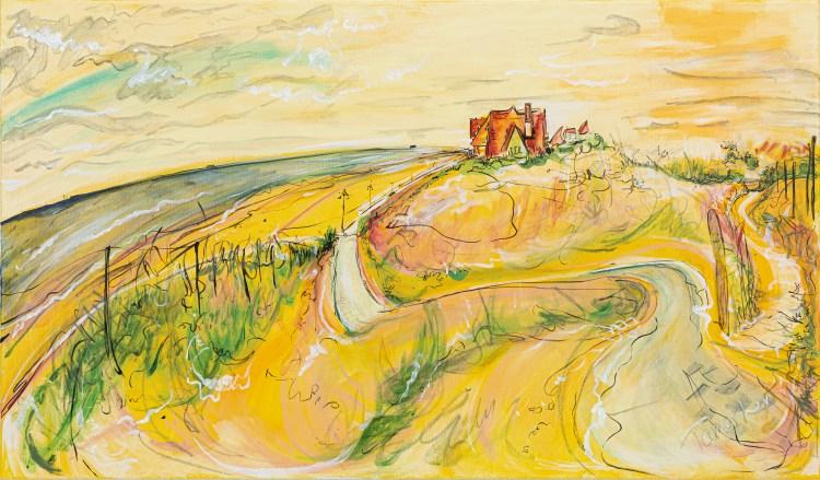 Painting of De Haan Sand Dunes, Belgium by Tamar Levi