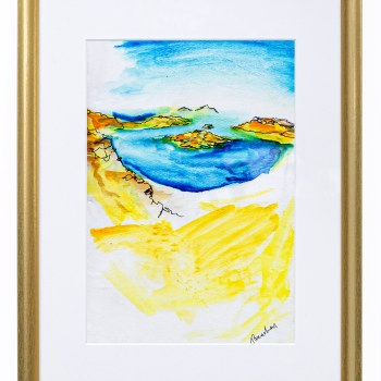 Santorini, Greece Watercolour Painting