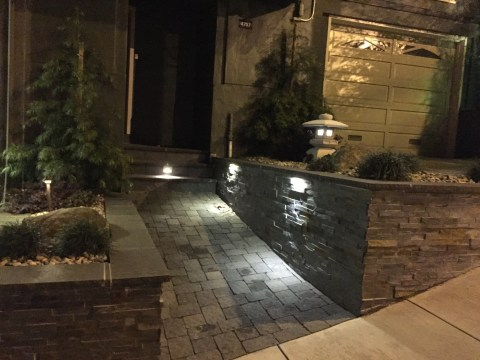 Picture of landscaping lightning at night, Asian landscaping project in Noe Valley, front
