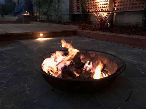 Backyard Landscape Project: Close up of natural gas fire pit