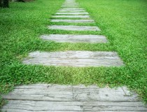Simple Landscaping Projects: Stone Pathway with green grass background
