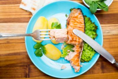 Colorful salmon plate