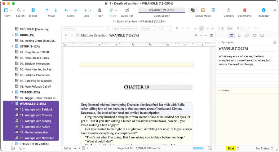 Scrivener Actual and Target Word Count