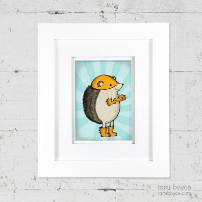 2_hedgehog framed on wall