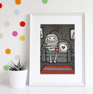 Robot Love, Netflix and Chill stylized