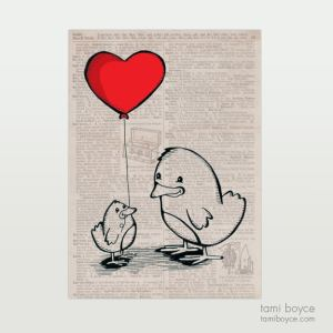 Birds with Heart-Shaped Balloon