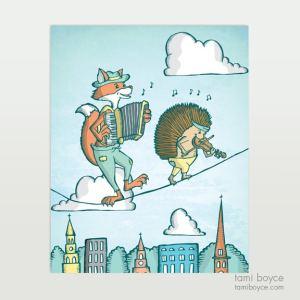 fox and hedgehog musicians