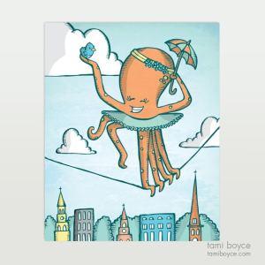 octopus with umbrella