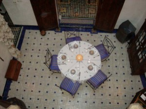 dining courtyard at Dar El Hana from the window of our room