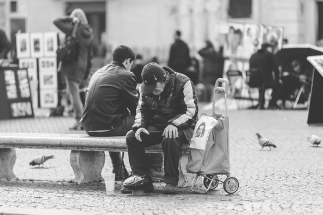 Old man with boom box - Piazza Navona - Rome Italy