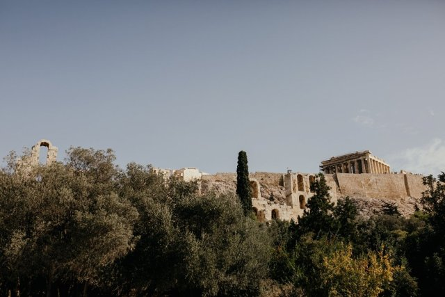 View of the Acropolis in Athens, Greece from below by Tami Keehn.