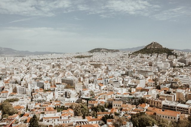 View of the city of Athens from Acropolis in Greece by Tami Keehn.