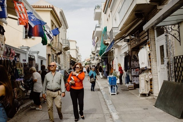 The streets of Plaka in Athens Greece crowded with tourists by Tami Keehn.