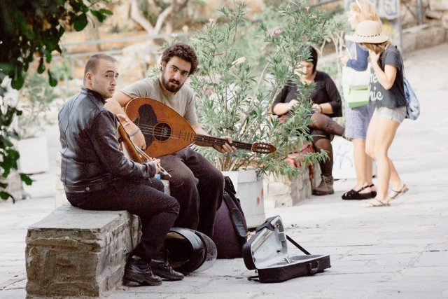 Musicians in The streets of Plaka in Athens Greece by Tami Keehn.