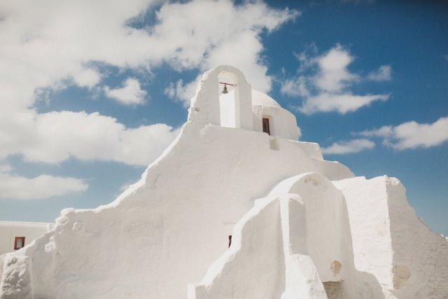 White Church in Mykonos Town, Greece by Tami Keehn