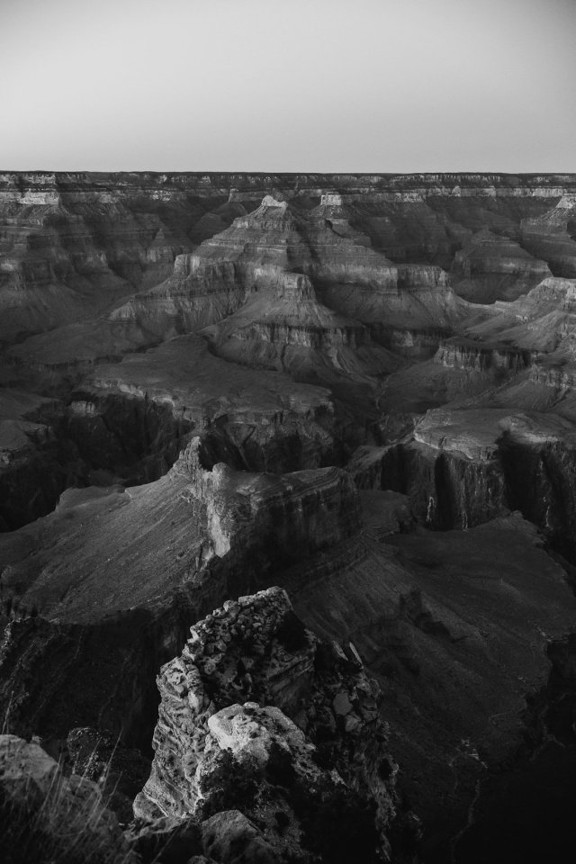 A black and white image of the valley at Hopi Point on the South Rim of the Grand Canyon by photographer Tami Keehn.