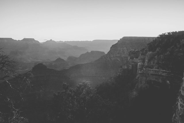 Black and white image at Yavapai point in the South Rim of the Grand Canyon by photographer Tami Keehn.