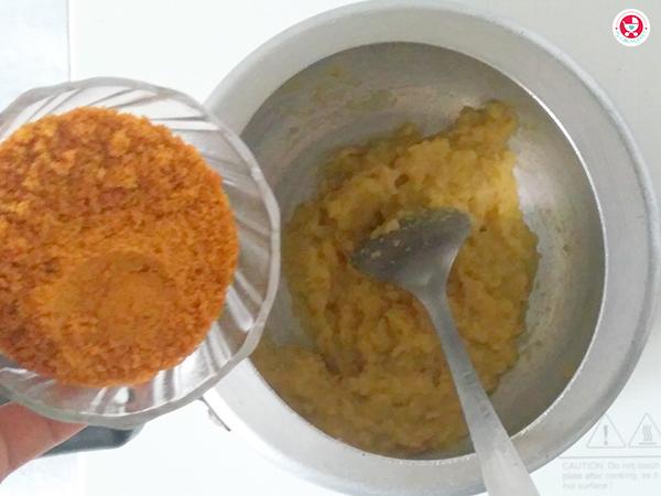 Add organic jaggery powder and mix