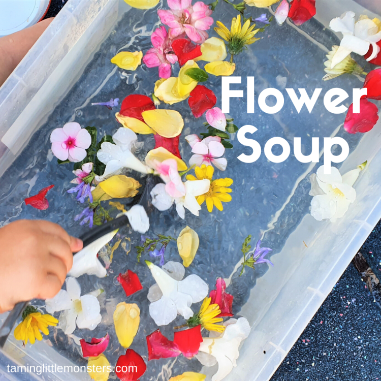 Flower Soup Sensory Bin. A fun and easy outdoor spring activity for babies, toddlers and preschoolers.