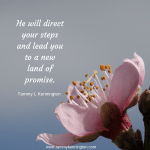He will direct your steps and lead you to a new land of promise.