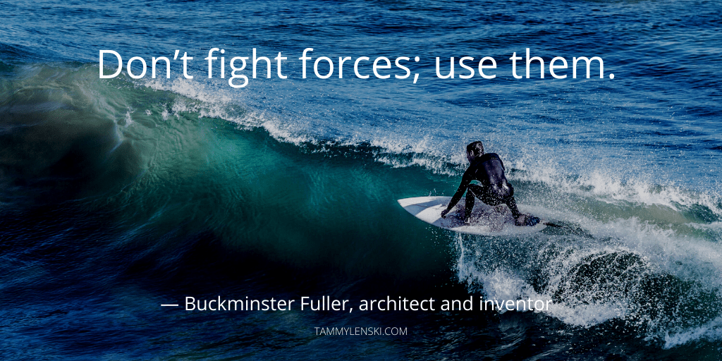 "How to stop ruminating at night: ""Don't fight forces; use them."" - Buckminster Fuller, architect and inventor"