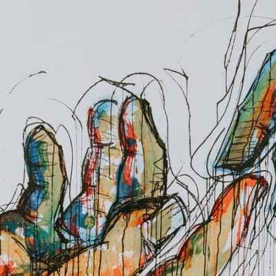 Sketch of two hands reaching toward each other