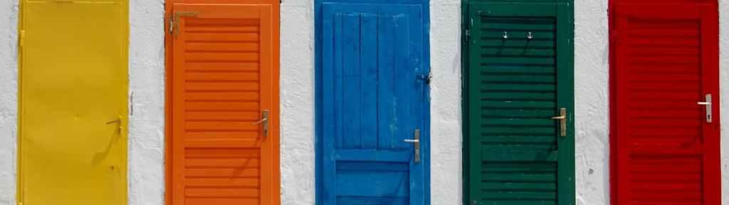 multi-color doors on a building