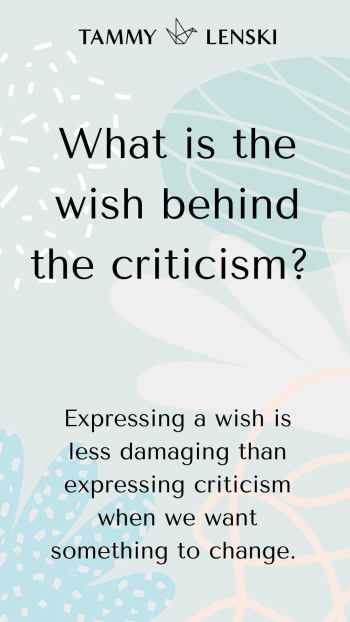 What is the wish behind the criticism?