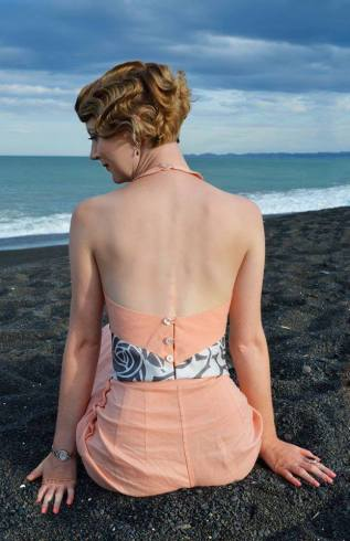 Back view 1930s Peach Beach Pyjamas I designed and made 2015. Photographed By the beautiful Jacinda