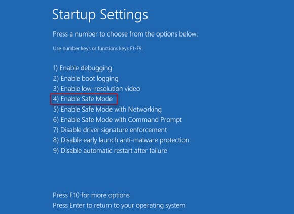 Select 'Enable Safe Mode""