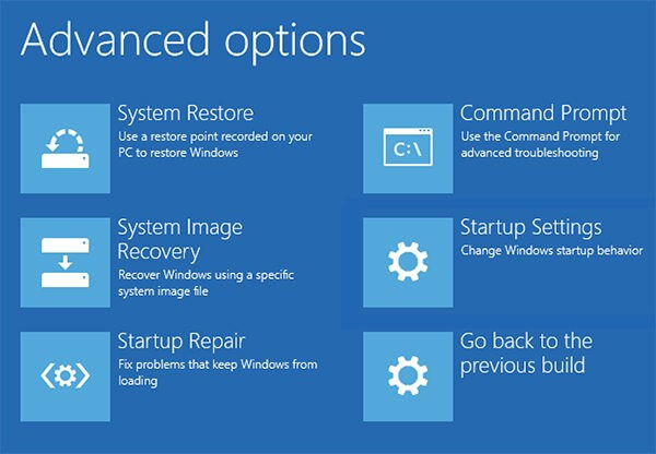 Advanced Options Menu - Windows 10