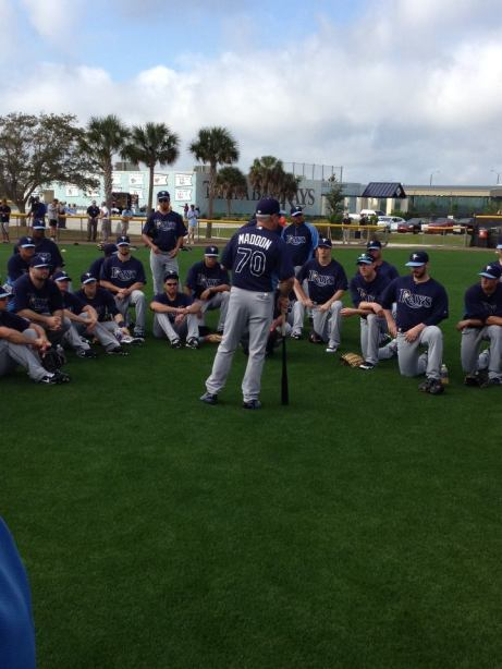 Joe Maddon meeting with the pitching staff at Port Charlotte. (Courtesy of the Tampa Bay Rays)
