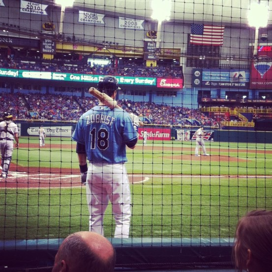 Ben Zobrist in the on-deck circle at Tropicana Field Sunday.