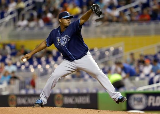 Roberto Hernandez comes within one out of the Rays' first complete game of the season, giving up just an unearned run in the first inning and throwing 92 pitches after lasting a combined six innings in his previous two starts. (Courtesy of Associated Press)