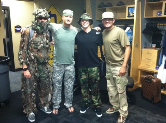 The theme of this road trip is camouflage. Guess who's stoked? L-R: Matt Moore, Alex Cobb, Jeremy Hellickson, and Cesar Ramos (Photo courtesy of the Tampa Bay Times)