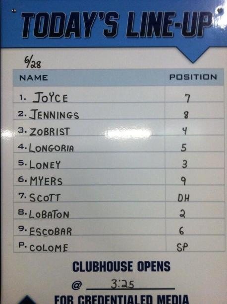 Rays 6/28/13 Starting Lineup (Photo courtesy of the Tampa Bay Rays)