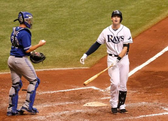 """Wow R.A really had it working today. Felt like I was chasing a wiffle ball on a windy day!"" - Evan Longoria, via Twitter (Photo courtesy of the Tampa Bay Times)"